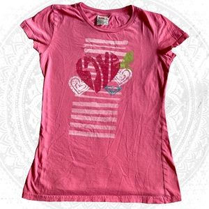 Roxy Paradise Large 100% Cotton T-Shirt Heart Bird
